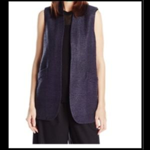 ANNE KLEIN 10 Sleeveless Top Dark Indigo Blue Vest